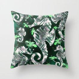 Green Floral Seahorse Fantasy Throw Pillow