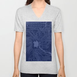 Blue Geek Motherboard Circuit Pattern Unisex V-Neck
