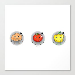Funny angry vegetables Canvas Print