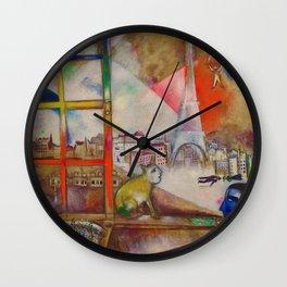 'Paris Through the Window - Eiffel Tower, Seine, & Left Bank' by Marc Chagall Wall Clock