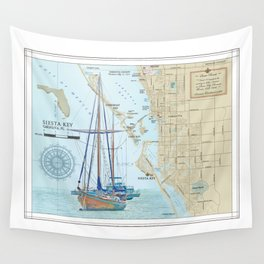 Sarasota and Siesta Key Nautical Area Map Wall Tapestry