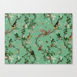 Monkey World Green Canvas Print