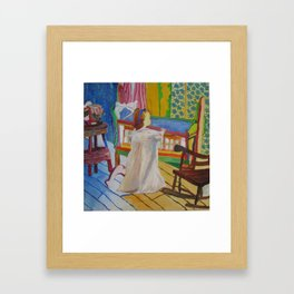 Happy Girl with Cradle Framed Art Print