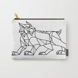 Lynx Prowling Black and White Mosaic Carry-All Pouch