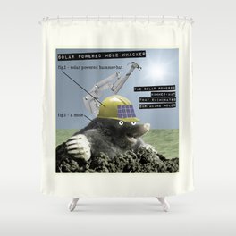 Solar Powered Mole-Whacker Shower Curtain