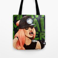 heavy metal Tote Bags featuring Heavy Metal Lover by Helen Green