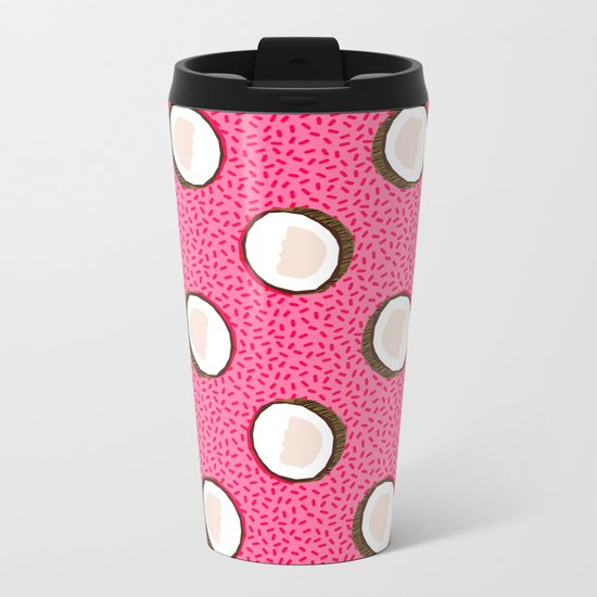 Coconuts memphis pattern retro 80s throwback style classic tropical summer vibes Metal Travel Mug