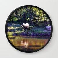 rhino Wall Clocks featuring Rhino  by Art-Motiva