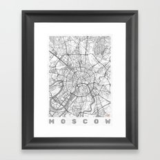 Moscow Map Line Framed Art Print