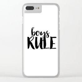 Boys Rule Clear iPhone Case