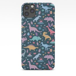 Dinosaur + Flowers Pattern iPhone Case