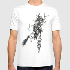 Witch SMALL Mens Fitted Tee White