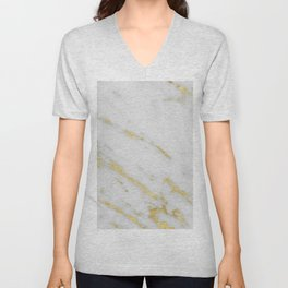 Marble - Shimmery Gold Marble on White Pattern Unisex V-Neck