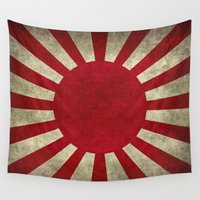 army Wall Tapestries featuring The imperial Japanese Army Ensign Flag by Bruce Stanfield