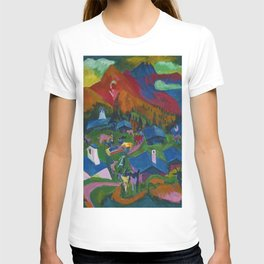 Return of the Animals Mountain Village Landscape painting by Ernst Ludwig Kirchner T-shirt
