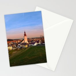 Village and church in warm sundown light II   landscape photography Stationery Cards