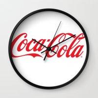 coca cola Wall Clocks featuring Coca Cola by ZenthDesigns
