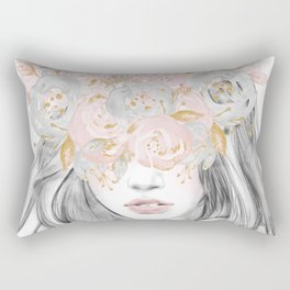 She Wore Flowers in Her Hair Rose Gold by Nature Magick Rectangular Pillow