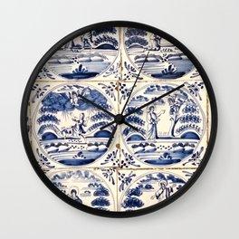 Dutch Delft Blue Tiles Wall Clock