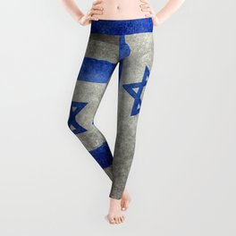 Flag of the State of Israel - Distressed worn patina Leggings
