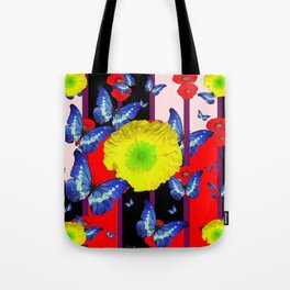 RED-BLACK  BLUE BUTTERFLY &  YELLOW FLOWER FLORAL Tote Bag
