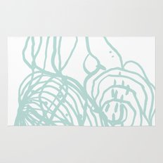 Abstract swirl mint white painting modern minimal decor Rug