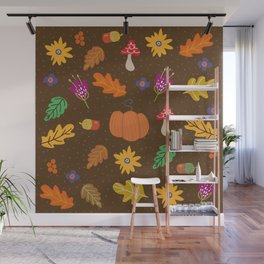 Autumn Fall Leaves Flower Pattern Wall Mural