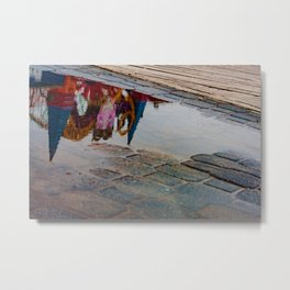 Reflection of the Street Water Metal Print