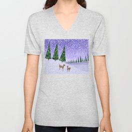 deer in the winter woods Unisex V-Neck