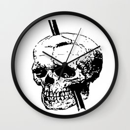 Skull of Phineas Gage With Tamping Iron Wall Clock