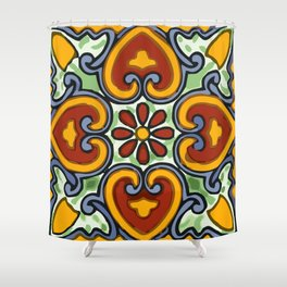 Talavera Mexican tile inspired bold design in green, gold, red and blue Shower Curtain