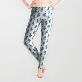 Blue Watercolor Seahorse pattern - Lo Lah Studio Leggings