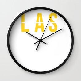 LAS - Las Vegas - Nevada - Airport Code Souvenir or Gift Design Wall Clock