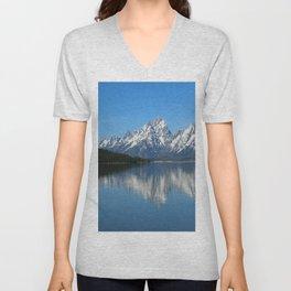 Jackson Lake and Grand Teton Refection Unisex V-Neck