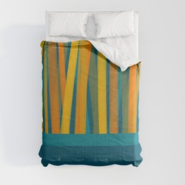 Ribbon Abstract Lined Color Block Cuff Pattern in Moroccan Teal, Blue, Mustard, Orange, and Green Comforters