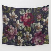 vintage floral Wall Tapestries featuring Vintage Floral by Betty DoGood