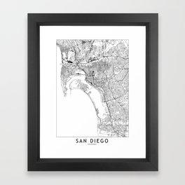 San Diego White Map Framed Art Print