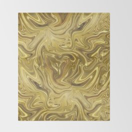 Rich Gold Shimmering Glamorous Luxury Marble Throw Blanket