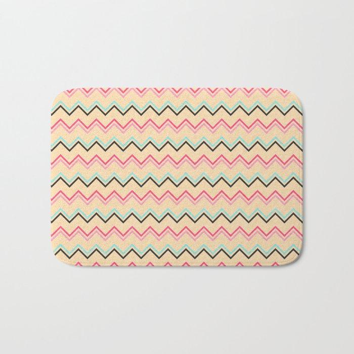 Pink And Blue Chevron Geometric Pattern Bath Mat