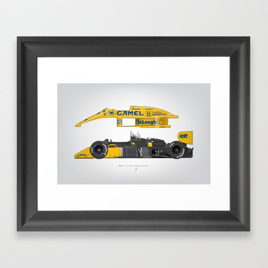 Outline Series N.º5, Ayrton Senna, Lotus 99T-Honda, 1987 Framed Art Print