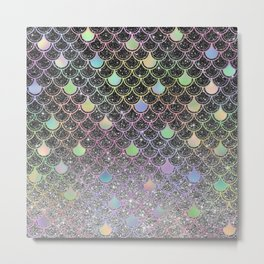 Mermaid scales ombre glitter #2 Metal Print