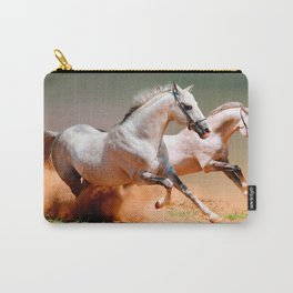two white horses running Carry-All Pouch