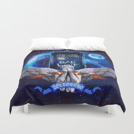 The Angel with Tardis Duvet Cover
