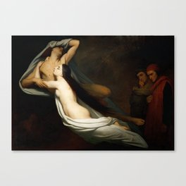 The Ghosts of Paolo and Francesca Appear to Dante and Virgil Canvas Print