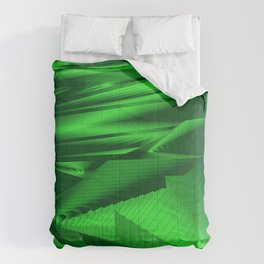 Diffuse landscap with stylised mountains, sea and green Sun. Comforters