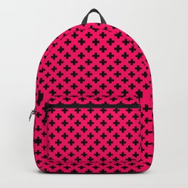 Small Black Crosses on Hot Neon Pink Backpack