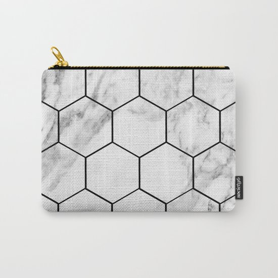 Marble hexagonal tiles - geometric beehive Carry-All Pouch