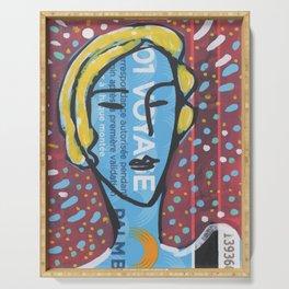 Cannes Bus Ticket Street Art Portrait Pop Serving Tray