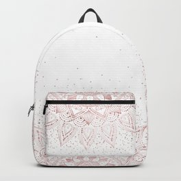 Elegant rose gold mandala confetti design Backpack