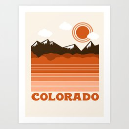 Colorado - 70s retro throwback travel state usa minimal design 1970's Art Print